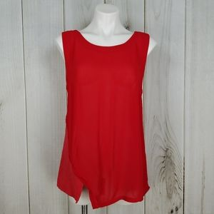 Language | Red Layered Tunic Tank Top Blouse